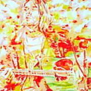 Kurt Cobain Live Concert - Watercolor Portrait Art Print