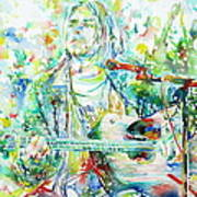 Kurt Cobain Playing The Guitar - Watercolor Portrait Art Print