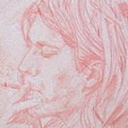 Kurt Cobain Smoking-pencil Portrait Art Print