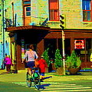 Kusmi Tea And Sandwich Shop St Viateur Corner St Urbain Montreal Summer City Scene  Carole Spandau Art Print