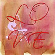 L O V E Script With Heart Art Print