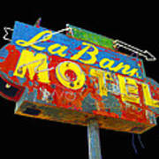 La Bank Motel - Black Art Print
