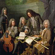 La Barre And Other Musicians, C.1710 Oil On Canvas Art Print