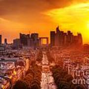 La Defense And Champs Elysees At Sunset Art Print
