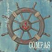 La Mer Compas Art Print by Debbie DeWitt