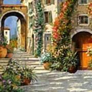 La Porta Rossa Sulla Salita Art Print by Guido Borelli