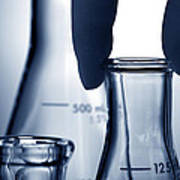 Laboratory Erlenmeyer Flasks In Science Research Lab Art Print