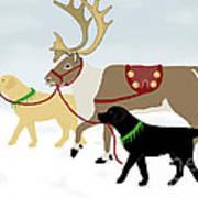 Labrador Dogs Lead Reindeer Art Print
