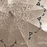 Lace Parasol In Sepia Art Print