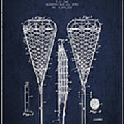 Lacrosse Stick Patent From 1950 Navy Blue Digital Art By
