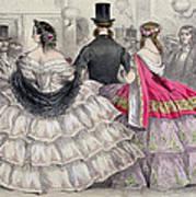 Ladies Wearing Crinolines At The Royal Italian Opera Art Print
