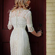 Lady In Edwardian Dress Opening A Door Art Print