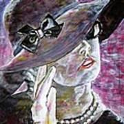 Lady In Gloves Art Print by Linda Vaughon
