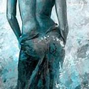 Lady In Red #27 Digital Colored Version Blue Aqua Art Print
