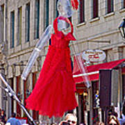 Lady In Red Watching Filming Of Today Show In Old Montreal-qc Art Print