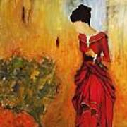 Lady In The Red Dress Art Print