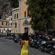 Lady In Yellow By The Church Of San Francesco Maiori Italy Art Print