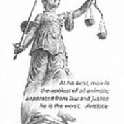 Lady Justice Statue Pencil Portrait Art Print