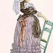 Lady Leaning On Chair, Engraved Art Print