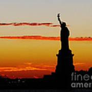 Lady Liberty At Sunset Art Print