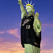 Lady Liberty Dressed Up For The Nba All Star Game Art Print by Susan Candelario