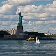 Lady Liberty With Sailboat And Water Taxi Art Print