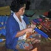 Lady Makes Umbrellas At A Factory Near Chaing Mai Art Print