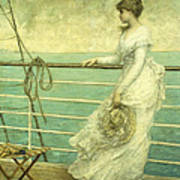 Lady On The Deck Of A Ship  Art Print