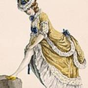 Lady Pulling Up Her Stocking, Engraved Art Print