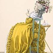 Lady Reclines On Chair Drinking Art Print