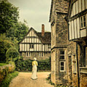 Lady Walking In The Village Art Print by Jill Battaglia