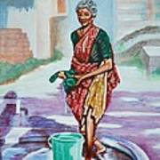 Lady Washing Clothes Art Print