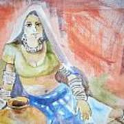 Lady With The Earthen Pot Art Print