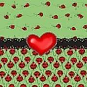 Ladybugs Hearts Desires  Art Print