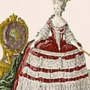 Ladys Court Gown In Dark Cherry Art Print