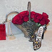 Purse Red Roses Jewelry Diamonds Art Print