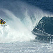 Laird Hamilton Going Left At Jaws Art Print by Bob Christopher