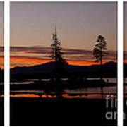 Lake Almanor Sunset Triptych Art Print