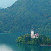 Lake Bled Island Art Print