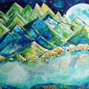 Lake By The Moon Light Art Print