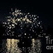Lake Fireworks Art Print