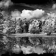 Lake In Black And White One Art Print