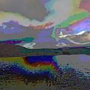 Lake Land And Sky Digitally Painted Photograph Taken Around Poconos  Welcome To The Pocono Mountains Art Print