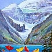 Lake Louise Poppies Art Print