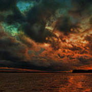 Lake Murray Fire Sky Art Print