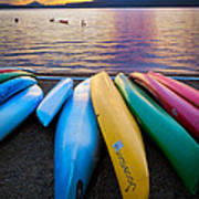 Lake Quinault Kayaks Art Print by Inge Johnsson