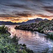 Lake Saguaro Sunset Art Print