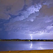 Lake View Lightning Thunderstorm Art Print