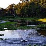 Lake With Fountain Art Print