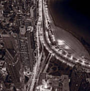Lakeshore Drive Aloft Bw Warm Art Print
